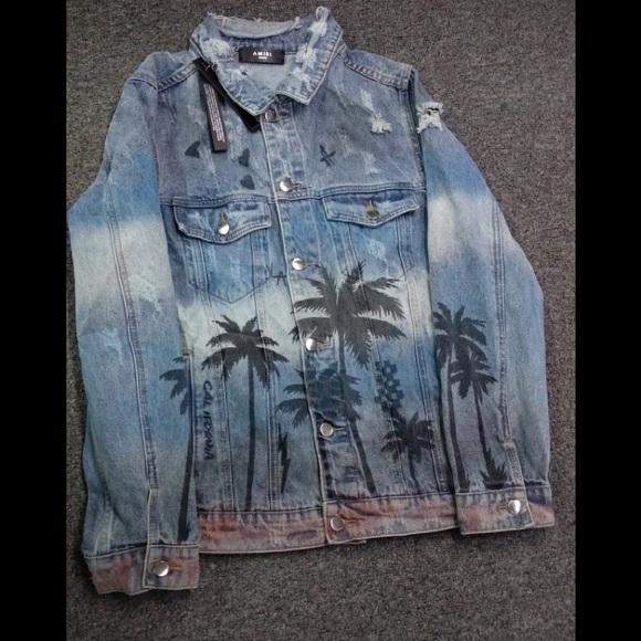 Second hand Denim vest Blue Palm Leaf